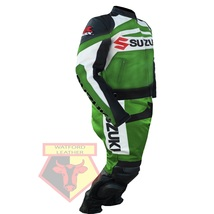 SUZUKI GSX-R GREEN MOTORBIKE MOTORCYCLE BIKER COWHIDE LEATHER ARMOURED 2... - $339.99