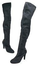 LOUIS VUITTON Black Suede Alliance Thigh High Boots Size 9.5/40 - $920.43