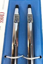 Vtg Macom Company Cross Chrome Set Pen & Mechanical Pencil w/ Topaz gems... - $44.55