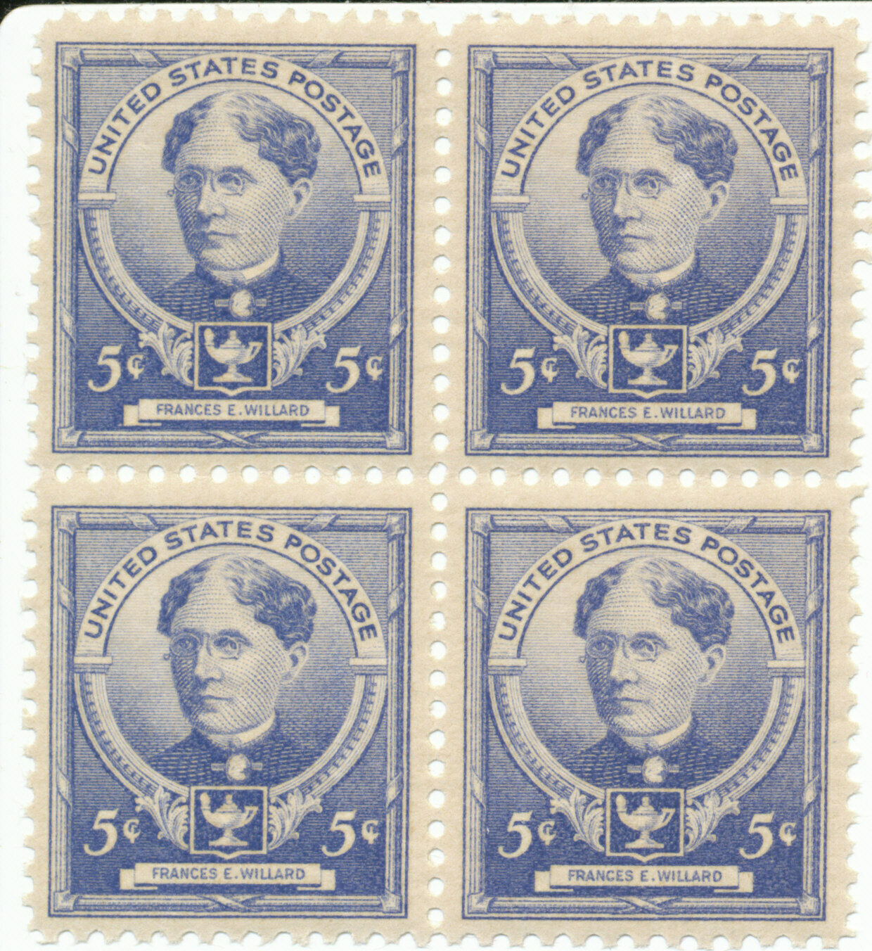 1940 Frances E Willard Block of 4 US Postage Stamps Catalog Number 872 MNH