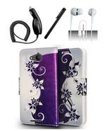 Alcatel Tetra Purple Vines Design Flip Pouch Magnetic Wallet Case Cover - $12.99