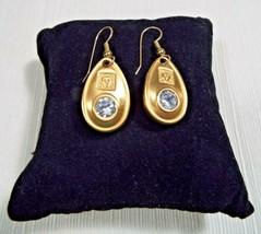 Anne Klein Vintage Gold Tone Crystal Tear Drop Pierced Earrings 1 Inch - $59.99