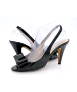 Kate Spade New York Womens 7.5B Black Patent Leather Bow Heel Slingback ... - $34.99