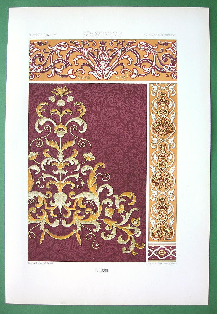 BAROQUE & Renaissance Italian Embroidery - COLOR Litho Print by Racinet