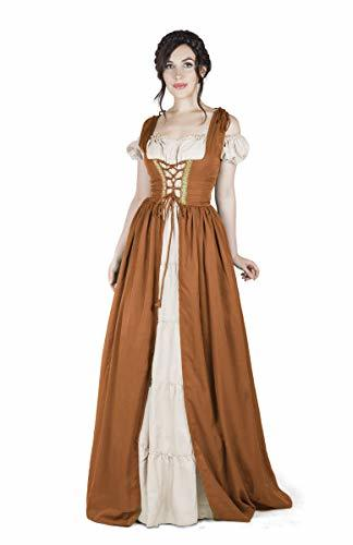 Boho Set Medieval Irish Costume Chemise and Over Dress (S/M, Copper)