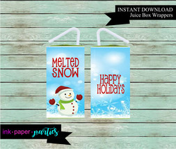 Printable Christmas Holiday Snowman Juice Box Wrappers Party Favors Favo... - $2.00