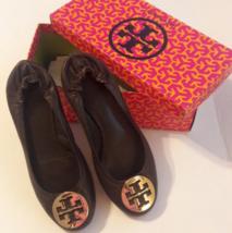 Tory Burch Reva Ballet Brown Classic Leather Emblem Logo Flats  - $70.13