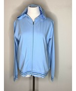 Patagonia Womens Jacket Organic Cotton Hooded Activewear Full Zip Blue Sz L - $19.95