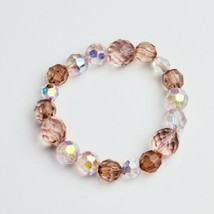 Handmade Beaded Stretch Bracelet Pink Two Tone Handcrafted Jewelry Gift for Her - $14.99
