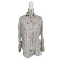Free People Printed Burnout Ivory Tunic Top Size Small Womens Button Dow... - $29.65