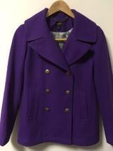 BEAUTIFUL J. Crew Button Up Wool Blend Coat Overcoat Women's Size 2 Purple - $53.45