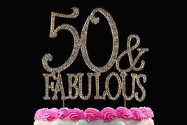 50 & Fabulous Gold Bling Crystal Cake Toppers 50th Birthday Cake Toppers... - $20.19 CAD