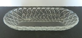 Indiana Glass Clear Oblong Pretzel Basket Weave Pickle Relish Celery Dis... - $16.82