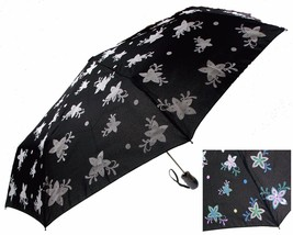 """Color Changing Umbrella 42"""" Rain Stoppers Black Floral Flowers Auto Open... - $20.49"""