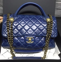 AUTHENTIC CHANEL BLUE QUILTED GLAZED CALFSKIN 2 WAY HANDLE FLAP BAG GHW