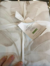 Pottery Barn Palm Leaf Duvet Cover Beige Queen 2 Standard Shams Tropical - $135.98