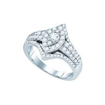 14k White Gold Round Diamond Oval Cluster Bridal Wedding Engagement Ring... - $1,079.00