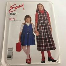 McCalls Sewing Pattern Easy 8874 Girls Jumper Romper V-Neck 7 8 10 12 14 Uncut - $4.75