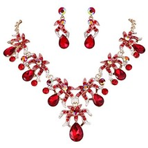 EVER FAITH Rhinestone Crystal Flower Cluster Teardrop Necklace (Red Gold... - $28.05