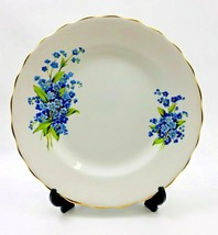 Rosina Fine Bone China Blue Flowers Made In England Plate Gold Trim - $10.49