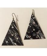 Black White Earrings Handmade Painted Paper Rhinestone Glitter Pierced T... - $30.00