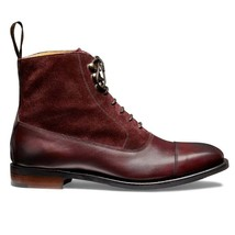 Handmade Men's Burgundy Leather & Suede High Ankle Lace Up Boots image 4