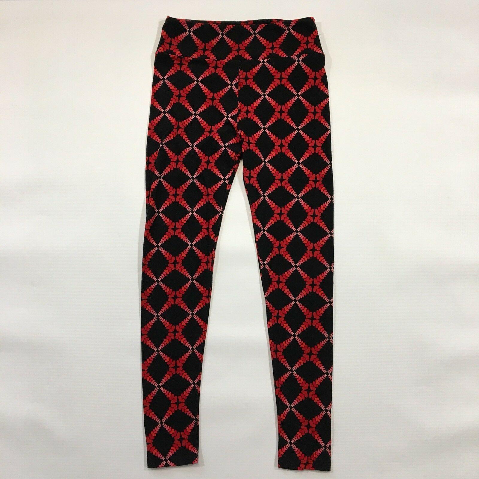 LuLaRoe OS Leggings Black Red Pink Gradient Hearts One Size Crisscross