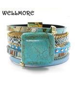 Blue leather, stone charm bracelets,with magnet buckle Bohemian bracelets - $14.99