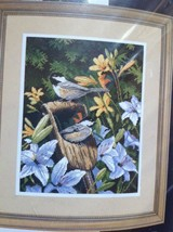 """#20068 Dimensions """"CHICKADEES & LILIES"""" Needlepoint Kit 11"""" X 18"""" - $33.66"""