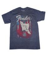 Fender Flag Guitar Blue T-Shirt Men's Officially Licensed Guitarist Tee ... - $21.00