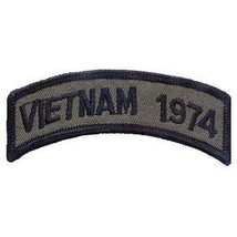 VIETNAM 1974 OD SUBDUED SHOULDER ROCKER TAB EMBROIDERED MILITARY PATCH - $13.53