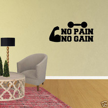 Wall Decal No Pain No Gain Decor Sports Nursery Art Design Vinyl Sticker... - $9.49+