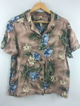 Caribbean Joe Hawaiian Shirt 1X Womens Brown Floral Wood Buttons Rayon T... - $22.77