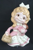 Vintage 1972 Ceramic Girl Baby Doll Sweet RARE Detailed Hand Painted Her... - $28.54