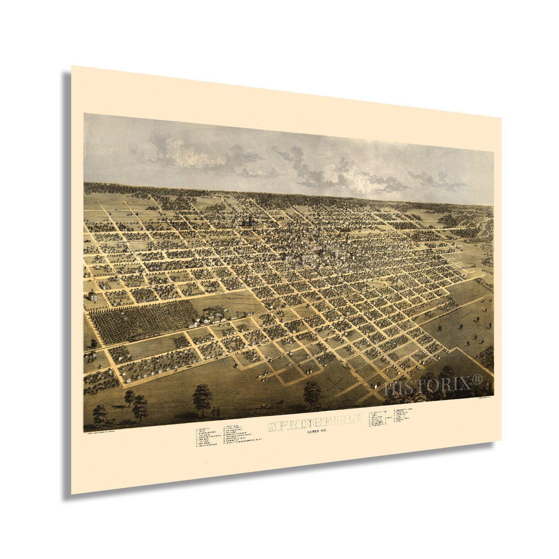 1867 Springfield Illinois Map Poster - Vintage Springfield Illinois Wall Art - O - $34.99 - $44.99