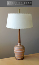 WOW! MID CENTURY DANISH MODERN ORANGE STRIPED POTTERY LAMP 50S VTG ATOMI... - $1,040.00