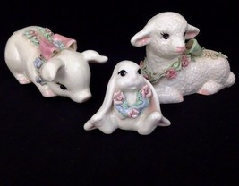 Vintage Dilley's California Pottery Sweet Faced Ceramic Figurines Lamb P... - $42.08