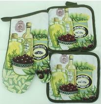 Kitchen Oven Mitt & Pot Holder Set Decor Hot Pad & Glove Combo (Olive Oil) - $19.34