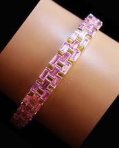 Stunning Sterling PINK baguette Bracelet - 3 row settings - sweetheart g... - $110.00