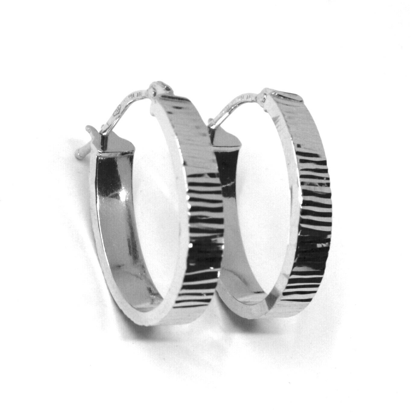 18K WHITE GOLD CIRCLE HOOPS OVAL SQUARED STRIPED WORKED EARRINGS 20 MM x 4 MM