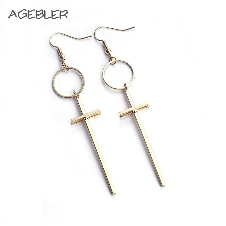 Ean simple style cross circle long drop earrings for women bijoux fashion gold color accessories