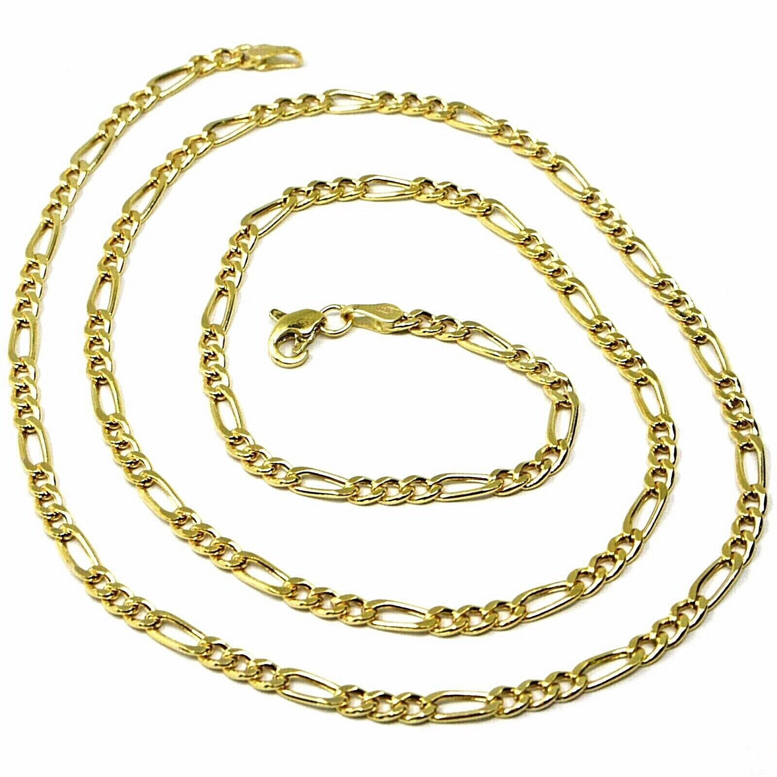 9K GOLD CHAIN FIGARO GOURMETTE ALTERNATE 3+1 FLAT LINKS 3mm, 50cm, 20 INCHES
