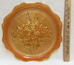 Tray Orange Iris Herringbone Flower Jeannette Carnival Glass Iridescent ... - $14.10