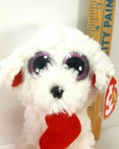 "Ty Valentine Honey Bun Poodle Puppy Dog Beanie Plush Stuffed Red Heart New 6"" image 2"