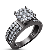 Round Cut White CZ Halo Bridal Engagement Ring 14k Black Gold Plated 925... - $86.33