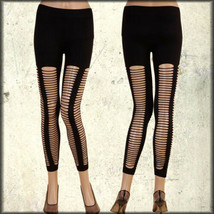 Rock Punk Rave Goth Club Sexy Womens Destroy Cut Out Holes Leggings Pant... - $30.80