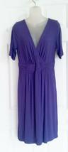 Fresh Produce Dress M Crossover Bust Faux Wrap Purple Rayon Stretch Knit... - $17.81