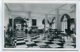 Main Lobby Interior Greenbrier Hotel White Sulphur Springs WV RPPC postcard - $7.43