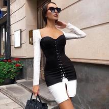 New Winter Women Black Long Sleeve Bodycon Bandage Party Dress