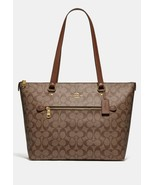 COACH GALLERY TOTE IN SIGNATURE COATED CANVAS IM/SADDLE-2  MSRP$328 - $160.00